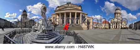 Gendarmenmarkt Berlin, Schiller Monument, German and French cathedral, Red Carpet Huguenot chapel - Stock Photo