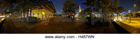 Germany, Berlin, New National Gallery in the 'Potsdamer Strasse', cultural forum, view to the colorful illuminated - Stock Photo