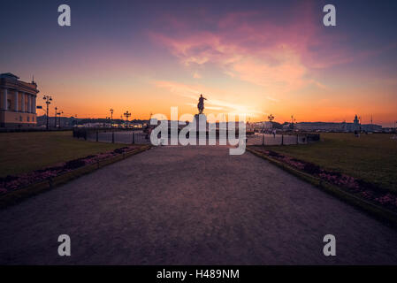 Aleksandrovsky park with the Bronze Horseman (equestrian statue of Peter the Great) in Saint Petersburg sunset - Stock Photo