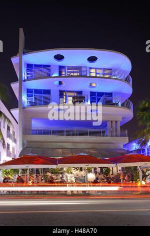 blue illuminated hotel at night, Ocean Drive, Miami South Beach, Art Deco District, Florida, USA, - Stock Photo