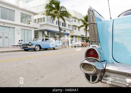 Tail view, tail fin, Chevrolet Bel Air, year of manufacture 1957, the fifties, American vintage car, Ocean Drive, - Stock Photo