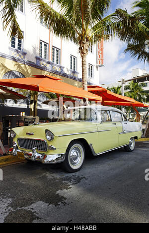 Chevrolet Bel Air, year of manufacture 1957, the fifties, American vintage car, Ocean Drive, Miami South Beach, - Stock Photo