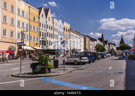 Austria, Upper Austria, Innviertel, Braunau in the Inn, town square, Gothic, - Stock Photo