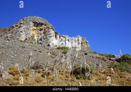 Greece, Dodekanes, island Fondling, cape agio Fokas, Embros Therme, mountain, sea bulbs, scenery, island group, - Stock Photo