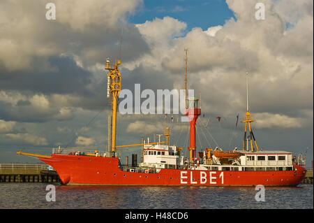 Germany, Lower Saxony, Cuxhaven, lightship, cloudy sky, North Germany, harbour, landing stage, ship, museum ship, - Stock Photo