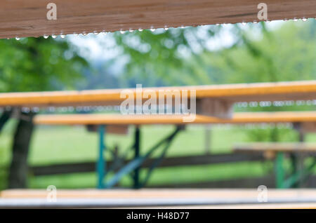 beer garden tables in the rain Stock Photo: 282349611 - Alamy