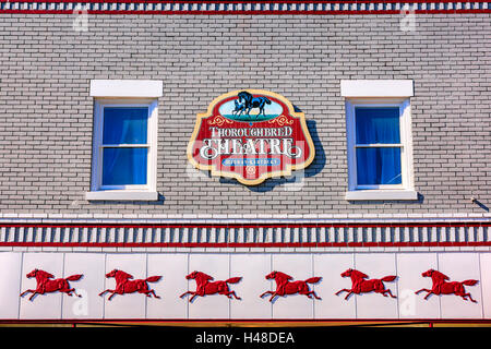 The front facade of the Thoroughbred Theater in downtown Midway, part of the Lexington-Fayette Metro area of Kentucky - Stock Photo