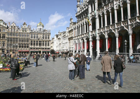 Belgium, Brussels, Grote market, Grand Place, Maison you Roi, guild houses, passers-by, - Stock Photo