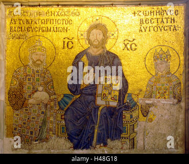 Turkey, Istanbul, Hagia Sophia, mosaic about the imperial portal, Narthex, representation emperor Leon VI in the - Stock Photo
