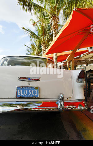 Chevrolet Bel Air, year of manufacture in 1957, the fifties, American old-timers, Ocean drive, South Miami Beach, - Stock Photo