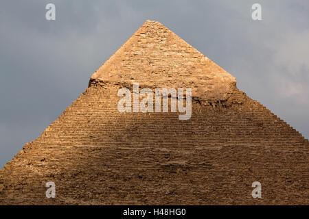 Egypt, Cairo, Giza, Chephren pyramid, - Stock Photo