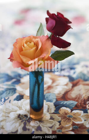 salmon-coloured and red rose in blue glass vase, on table caps with floralem design, - Stock Photo