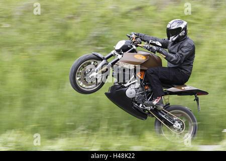 Motorcyclist, motorcycle, KTM 990 Road Hero, left side, wheelie, - Stock Photo