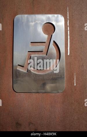 Door, disabled toilet, sign, tip, orientation, - Stock Photo