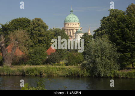 Germany, Brandenburg, Potsdam, Nikolaikirche, town, architecture, structure, church, building, river, wood, houses, - Stock Photo