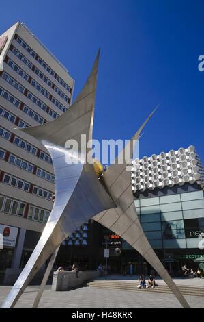 Shopping street, pedestrian area Prager Strasse, sculpture and 'Centrum Galerie', Dresden, Saxony, Germany,