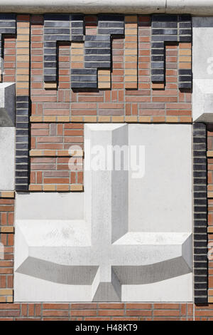 modern, brick flood protection wall, flood control, Kaiserkai, Hafencity, Hanseatic City of Hamburg, Germany, - Stock Photo