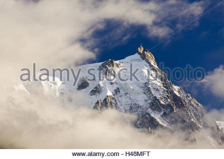 Aiguille du Midi, Aiguilles de Chamonix in clouds, France, Haute Savoie, - Stock Photo