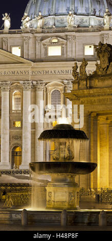 Fountain in front of St. Peter's Basilica, St. Peter's Square, Rome, Lazio, Italy, - Stock Photo