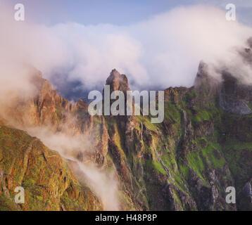 Pico Gato, view from the Miradouro Ninho da Manta, Arieiro, Madeira, Portugal, - Stock Photo