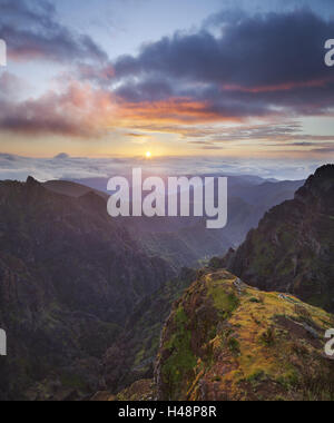 Sunrise at Miradouro Ninho da Manta, Arieiro, Madeira, Portugal, - Stock Photo
