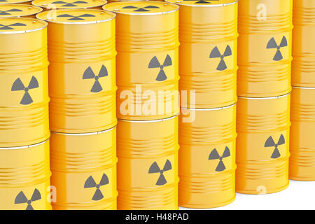 barrels with radioactive waste, 3D rendering isolated on white background - Stock Photo