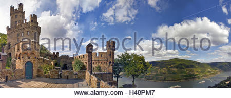 Middle Rhine Valley, castle Sooneck, view in the direction of Bingen, - Stock Photo