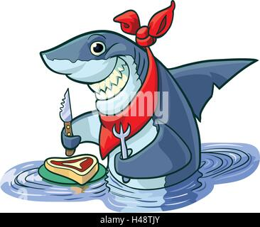 Vector cartoon clip art illustration of a cute happy smiling shark with a knife, fork, and bib, about to eat a steak - Stock Photo