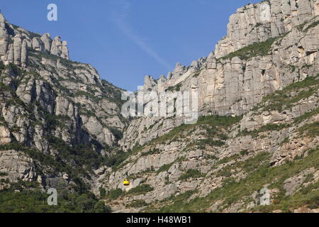 Santa Maria de Montserrat abbey in the top of the mountain, with the yellow aerial cable car