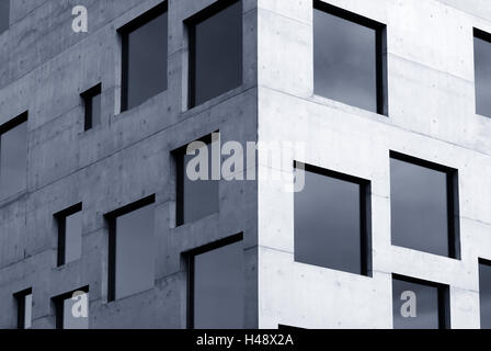 School management and design, sugar cube, wall, surface, concrete, window, glass, mirroring, blue, Germany, North - Stock Photo