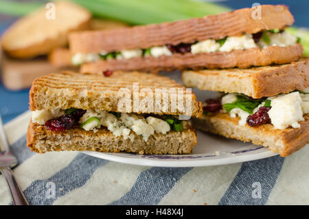 Sandwich with blue cheese and cranberries, baked in panini grill - Stock Photo