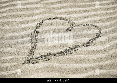 Heart painted in sand, - Stock Photo