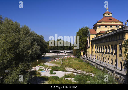 Germany, Bavaria, Upper Bavaria, Munich, Isar shore, Müller'sches national bath, architecture, bath house, bathing, - Stock Photo