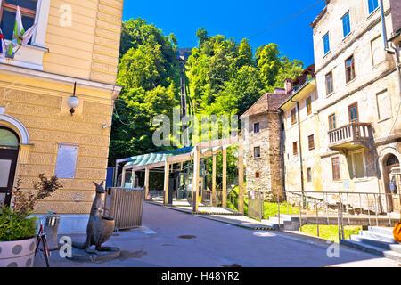 Ljubljana architecture and funicular view, capital of Slovenia - Stock Photo