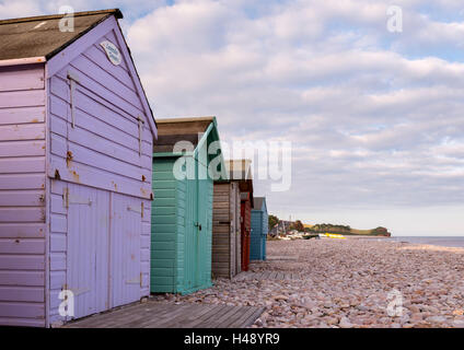 Beach huts on the beach at Budleigh Salterton, Devon, England. Summer (July) 2014. - Stock Photo