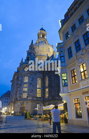 New market and Church of Our Lady, dusk, Dresden, Saxon, Germany, - Stock Photo