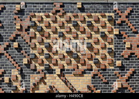 modern, brick flood protection wall, backlit, flood protection, Kaiserkai, HafenCity, Hanseatic City Hamburg, Germany, - Stock Photo