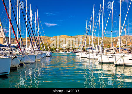 Town of Trogir marina and architecture view, UNESCO world heritage site in Dalmatia, Croatia - Stock Photo