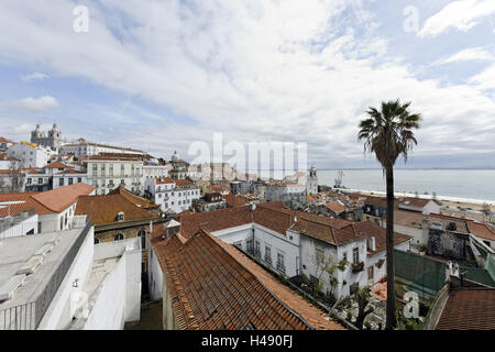 View over Alfama district and cathedral Sé, Lisbon, Portugal, - Stock Photo