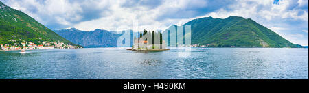 Panorama of the Kotor bay with the St Geouge islet in the middle and the coast of Perast on the left side, Montenegro. - Stock Photo