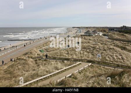 Germany, Lower Saxony, island Norderney, location Georgshöhe, view, beach, sea, - Stock Photo