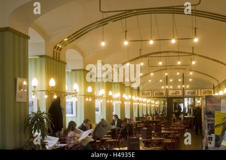 Austria, Vienna, cafe museum, Friedrichstrasse 6, the interior equipment decorated Adolf Loos, The café was closed - Stock Photo