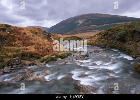 River Brittle running through the Fairy Pools in Glen Brittle on the Isle of Skye, Scotland. Winter (December) 2013. - Stock Photo