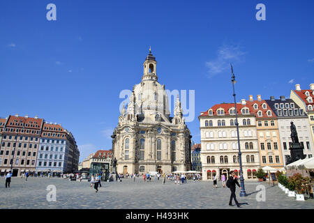 New market and Church of Our Lady, Dresden, Saxon, Germany, - Stock Photo