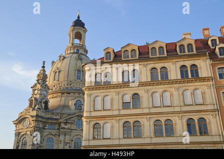 New market, Church of Our Lady, Dresden, Saxon, Germany, - Stock Photo