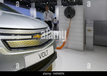 Chevrolet VOLT at a simulated electric charging station, plug-in Hybrid vehicle, International Motor Show, Internationale - Stock Photo