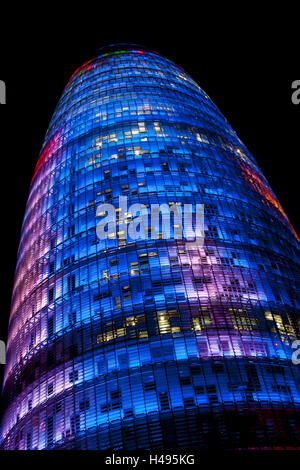 Agbar tower, Barcelona, Spain, Europe, - Stock Photo
