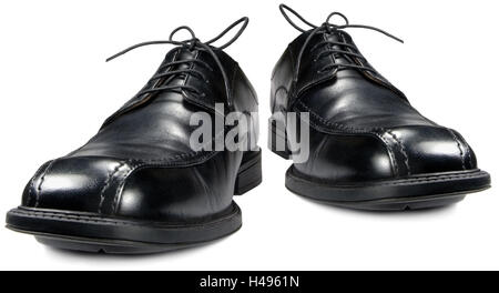 Classic men's black club shoe pair, isolated wide angle shoes macro closeup - Stock Photo