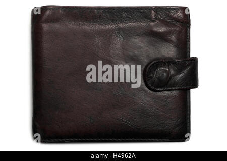 Old aged worn wallet, grungy black reddish brownish grunge leather isolated closeup, gentle shadow - Stock Photo