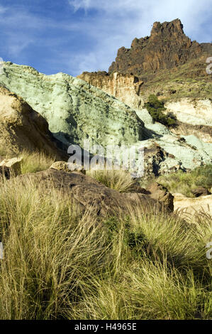 Spain, grain Canaria, batch Azulejos, rock staining by oxidation, - Stock Photo